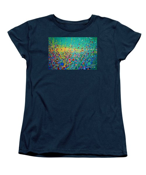 Women's T-Shirt (Standard Cut) featuring the painting  Colorful Flowerscape by Maja Sokolowska