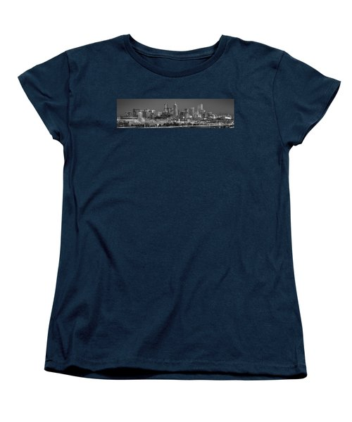 Women's T-Shirt (Standard Cut) featuring the photograph  Denver Skyline At Dusk Black And White Bw Evening Extra Wide Panorama Broncos  by Jon Holiday