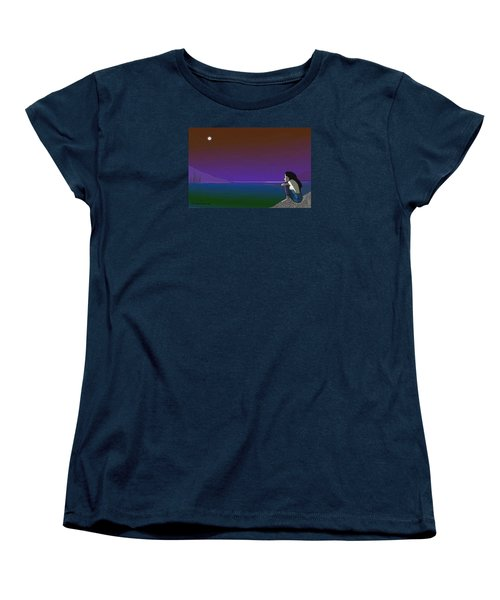 075 - Sitting At The Edge Of The Bay Women's T-Shirt (Standard Cut) by Irmgard Schoendorf Welch