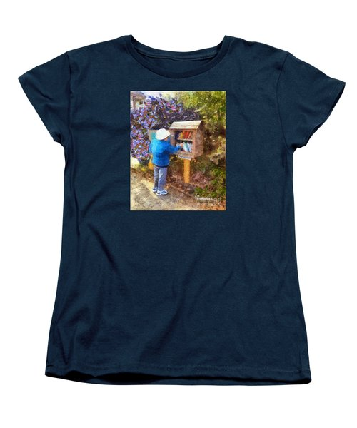 Women's T-Shirt (Standard Cut) featuring the painting  Alameda  Little Free Library by Linda Weinstock