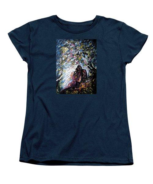 Women's T-Shirt (Standard Cut) featuring the painting  Love In Niagara Fall by Harsh Malik