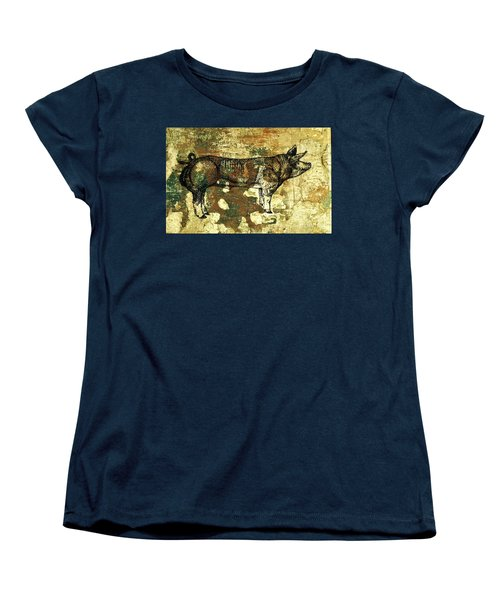Women's T-Shirt (Standard Cut) featuring the photograph  German Pietrain Boar 27 by Larry Campbell