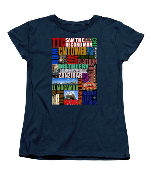 Toronto Typography Women's T-Shirt (Standard Cut) by Andrew Fare