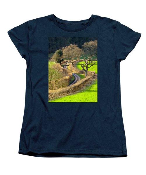 Winding Country Lane Women's T-Shirt (Standard Cut) by Tony Murtagh