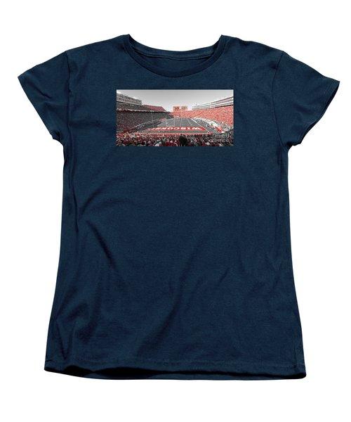 0095 Badger Football  Women's T-Shirt (Standard Cut) by Steve Sturgill