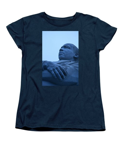 Women's T-Shirt (Standard Cut) featuring the photograph A Blue Martin Luther King - 1 by Cora Wandel
