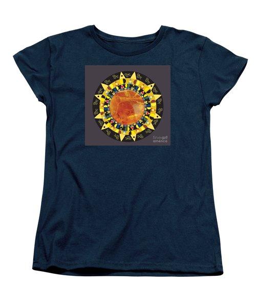 Women's T-Shirt (Standard Cut) featuring the digital art Amber Mandala by Kim Prowse