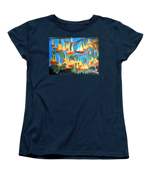 Women's T-Shirt (Standard Cut) featuring the painting Angel Trumpets by Sandy McIntire