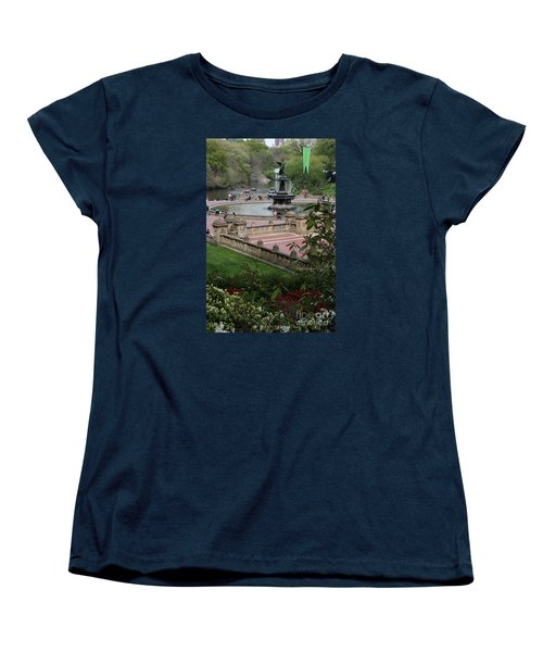 Bethesda Fountain - Central Park Nyc Women's T-Shirt (Standard Cut) by Christiane Schulze Art And Photography