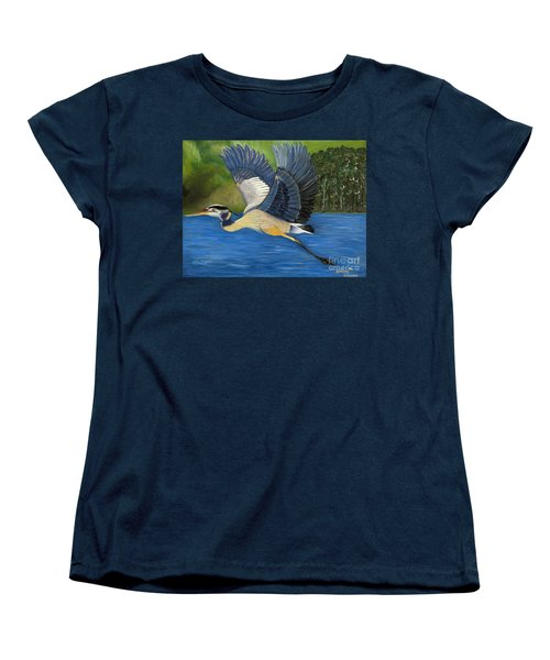 Women's T-Shirt (Standard Cut) featuring the painting Blue Heron In Flight by Brenda Brown