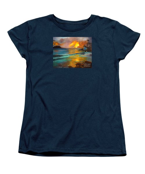 Women's T-Shirt (Standard Cut) featuring the painting Blue Sunset by Jenny Lee