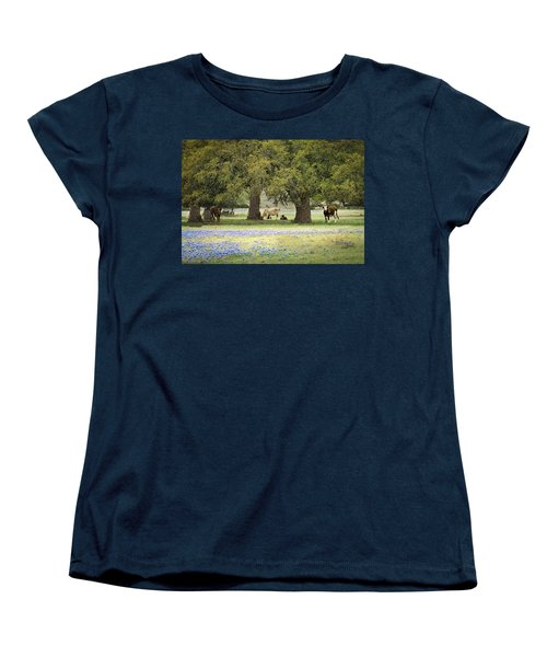Bluebonnets And Bovines Women's T-Shirt (Standard Cut) by Debbie Karnes