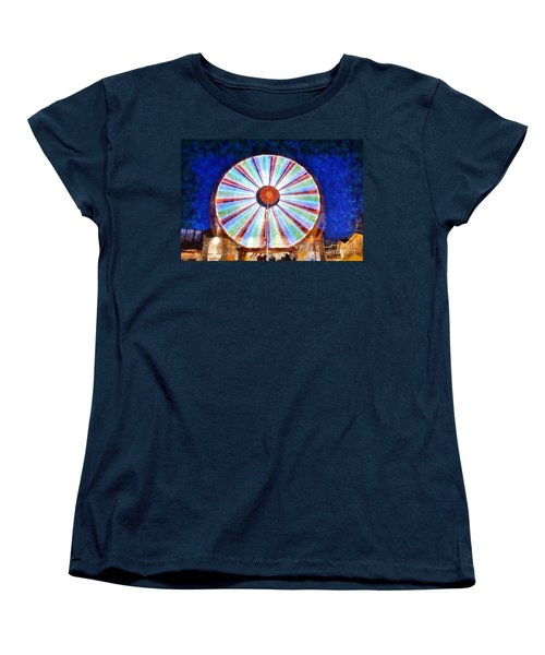 Women's T-Shirt (Standard Cut) featuring the painting Christmas Ferris Wheel by George Atsametakis