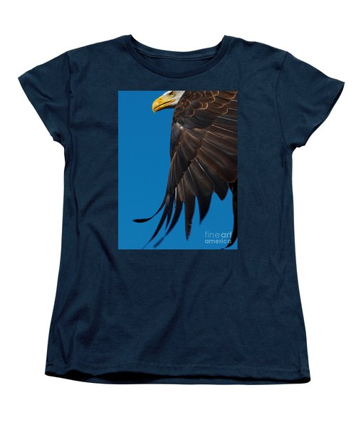 Close-up Of An American Bald Eagle In Flight Women's T-Shirt (Standard Cut) by Nick  Biemans