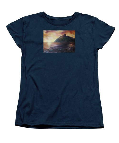 Women's T-Shirt (Standard Cut) featuring the painting Criccieth Castle North Wales by Jean Walker