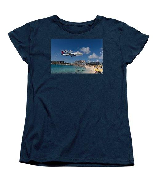 Delta Air Lines Landing At St Maarten Women's T-Shirt (Standard Cut) by David Gleeson