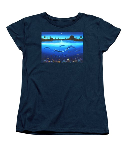 Desert Dolphins Women's T-Shirt (Standard Cut) by Lance Headlee