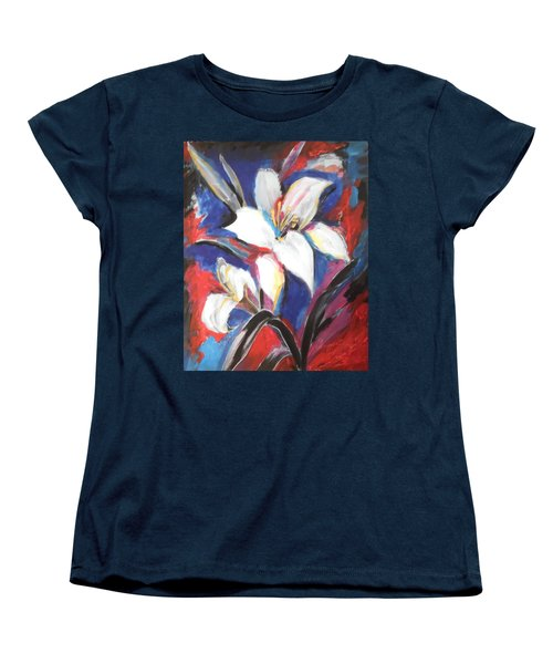Women's T-Shirt (Standard Cut) featuring the painting Fair Pure Fragile White Lilies by Esther Newman-Cohen