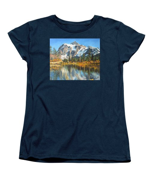 Women's T-Shirt (Standard Cut) featuring the painting Fall Reflections - Cascade Mountains by Mary Ellen Anderson