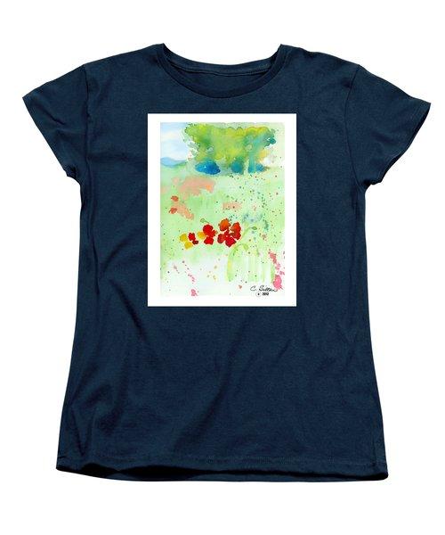 Women's T-Shirt (Standard Cut) featuring the painting Field Of Flowers by C Sitton
