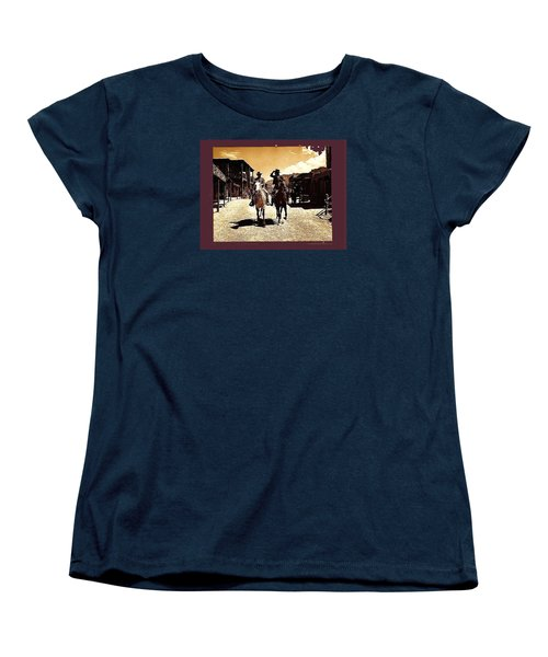 Film Homage Mark Slade Cameron Mitchell Riding Horses The High Chaparral Old Tucson Az C.1967-2013 Women's T-Shirt (Standard Cut) by David Lee Guss