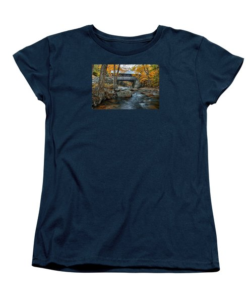 Flume Gorge Covered Bridge Women's T-Shirt (Standard Cut) by Jeff Folger
