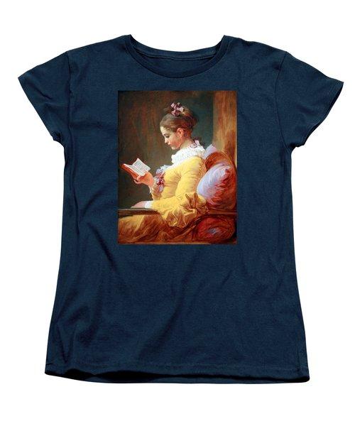 Women's T-Shirt (Standard Cut) featuring the photograph Fragonard's Young Girl Reading by Cora Wandel