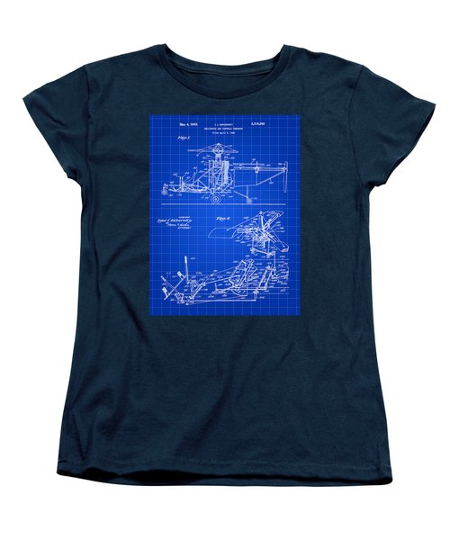 Helicopter Patent 1940 - Blue Women's T-Shirt (Standard Cut) by Stephen Younts