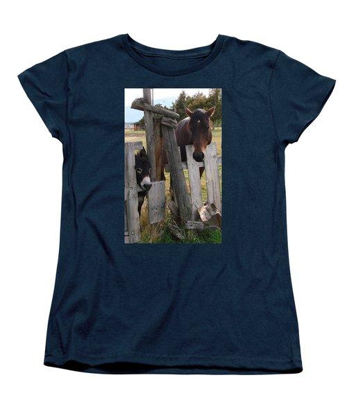 Women's T-Shirt (Standard Cut) featuring the photograph Horsing Around by Athena Mckinzie