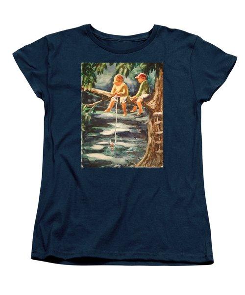 Jes Fishin Women's T-Shirt (Standard Cut) by Marilyn Jacobson