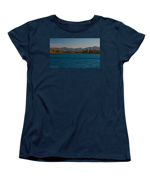 Lake Placid And The Adirondack Mountain Range Women's T-Shirt (Standard Cut) by Brenda Jacobs