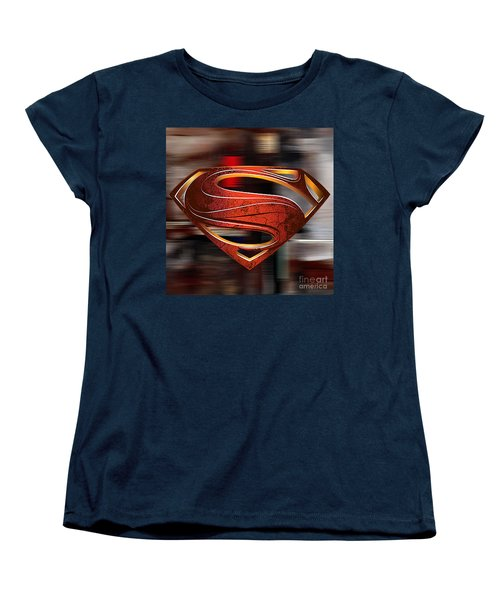 Man Of Steel Superman Women's T-Shirt (Standard Cut) by Marvin Blaine