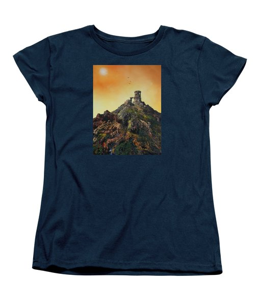 Women's T-Shirt (Standard Cut) featuring the painting Mow Cop Castle Staffordshire by Jean Walker