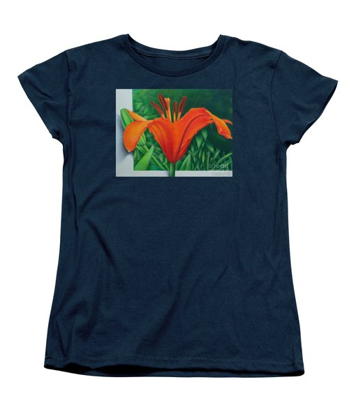 Women's T-Shirt (Standard Cut) featuring the painting Orange Lily by Pamela Clements