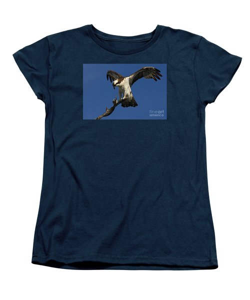 Women's T-Shirt (Standard Cut) featuring the photograph Osprey With A Fish Photo by Meg Rousher