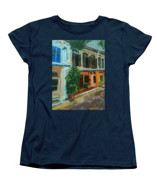 Women's T-Shirt (Standard Cut) featuring the painting Peranakan House by Belinda Low