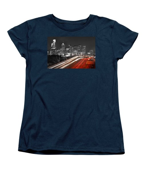 Philadelphia Skyline At Night Black And White Bw  Women's T-Shirt (Standard Cut) by Jon Holiday