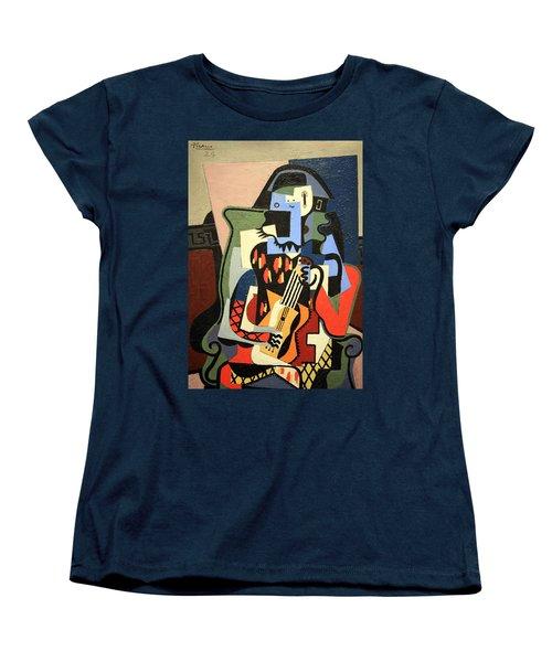 Picasso's Harlequin Musician Women's T-Shirt (Standard Cut) by Cora Wandel