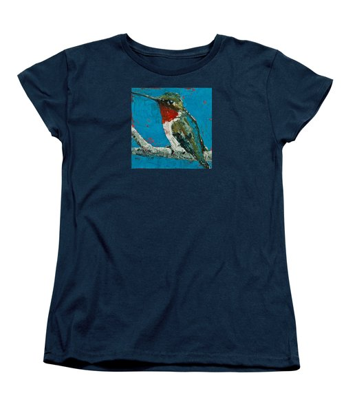 Women's T-Shirt (Standard Cut) featuring the painting Ruby-throated Hummingbird by Jani Freimann