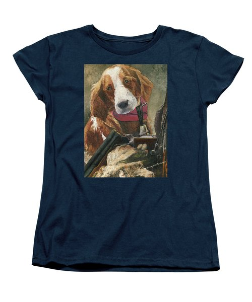 Women's T-Shirt (Standard Cut) featuring the painting Rusty - A Hunting Dog by Mary Ellen Anderson