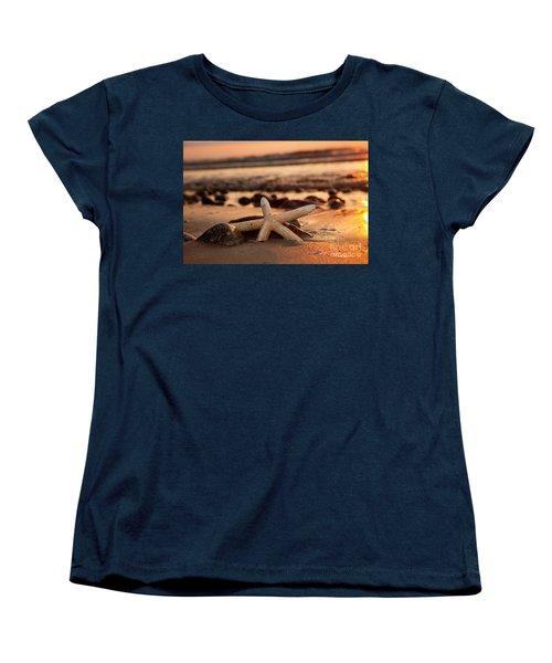Starfish On The Beach At Sunset Women's T-Shirt (Standard Cut) by Michal Bednarek