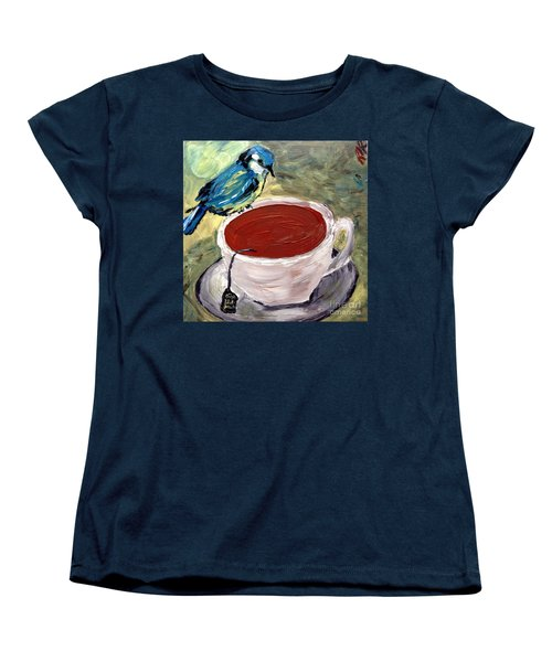 Women's T-Shirt (Standard Cut) featuring the painting Tea Time  by Reina Resto