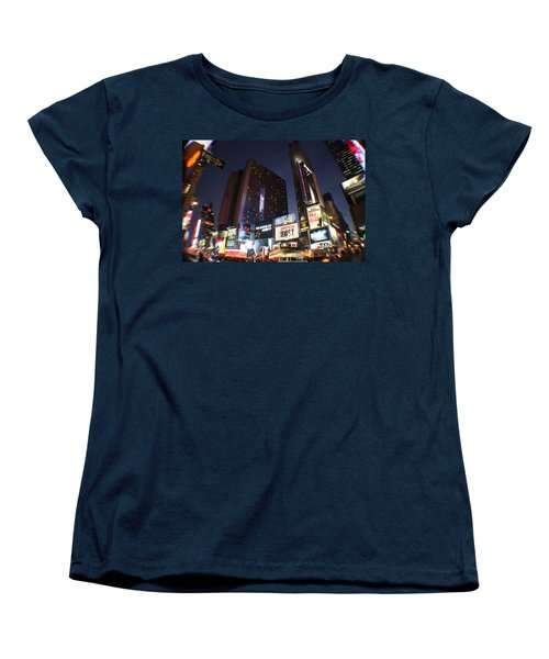 Women's T-Shirt (Standard Cut) featuring the photograph Times Square Nyc by Rogerio Mariani