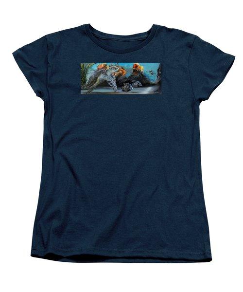 Women's T-Shirt (Standard Cut) featuring the painting Underwater Beauty by Donna Tuten