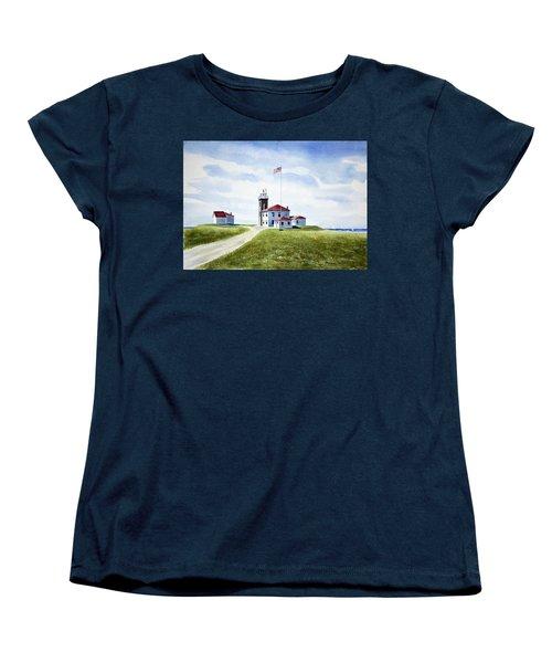 Watch Hill Ri Lighthouse Women's T-Shirt (Standard Cut) by Joan Hartenstein