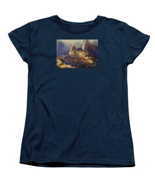 Watercolor Painting Machu Picchu Peru Women's T-Shirt (Standard Cut)