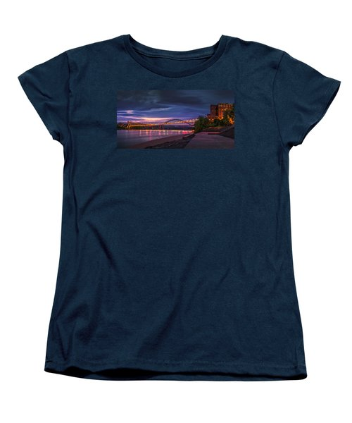 Women's T-Shirt (Standard Cut) featuring the photograph Wheeling Suspension Bridge  by Mary Almond