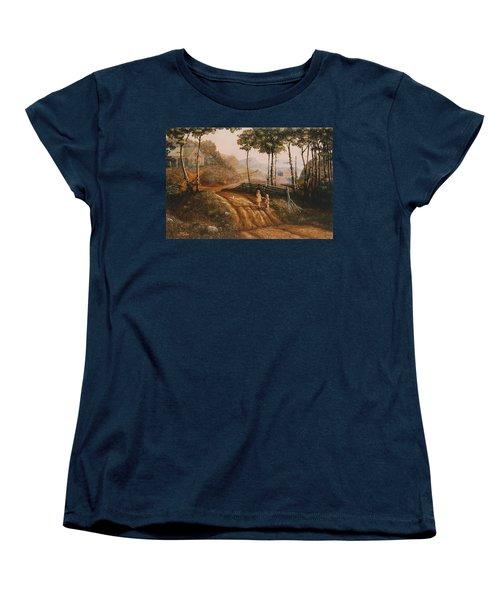 A Country Lane Women's T-Shirt (Standard Cut) by Duane R Probus