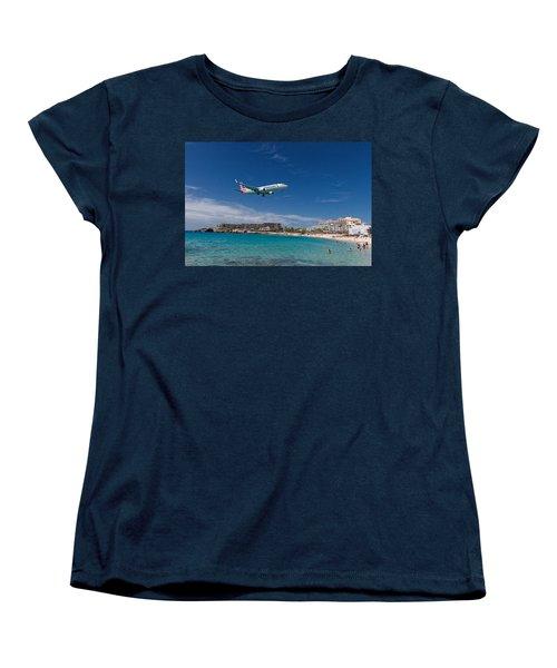 American Airlines At St Maarten Women's T-Shirt (Standard Cut) by David Gleeson