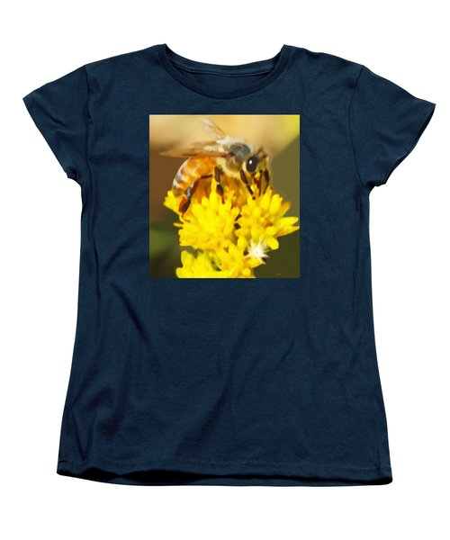 Bee On A Yellow Flower Women's T-Shirt (Standard Cut) by Marian Cates